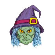 Witch head in sorcerer hat sketch icon Stock Illustration