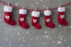 Nicholas Boots As Calendar, Cement, First Advent, Snowflakes Stock Photos