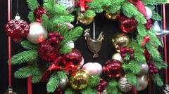 Christmas Wreath on the Black Background Stock Footage