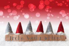 Gnomes, Red Background, Bokeh, Frohe Weihnachten Means Merry Christmas Kuvituskuvat