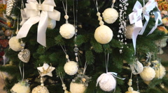 White Decoration Style of Christmas Tree Stock Footage