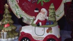 Glittering Ceramic Statuette of Santa Stock Footage