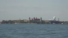 Ellis Island viewed from Battery Park, Manhattan, New York. Stock Footage