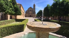Beautiful fountain and distant building of El Salvador chapel in Ubeda, Jaen, An Stock Footage