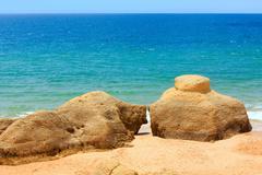 Albufeira beach (Algarve, Portugal). Stock Photos