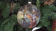 The Stage of Birth of Jesus on a Christmas Tree Stock Footage