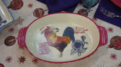 Plate With the Image of a Rooster Stock Footage