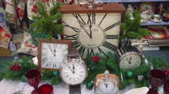 Clocks in Festive New Year Table Layout Stock Footage
