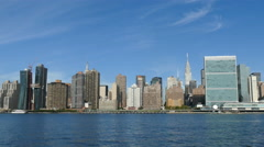 Manhattan Skyline, New York City, Chrysler Building and United Nations Stock Footage