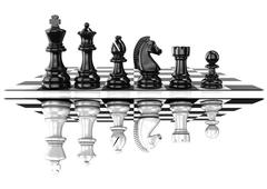 Chess black and white pieces, standing on board, mirrored Stock Illustration