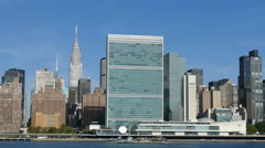 United Nations and Chrysler Building at East River, Manhattan, New York City Stock Footage