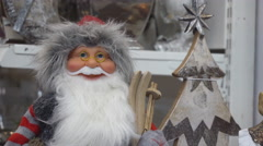 Funny Toy Figure of Santa Claus Stock Footage