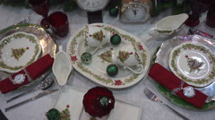 Festive New Year and Christmas Tableware Set Stock Footage