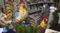 Two 2017 New Year Cock Statuettes Stock Footage