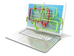 Laptop with speech bubbles. 3D Stock Illustration