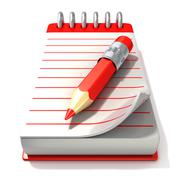Red notepad and red pen, 3D Stock Illustration