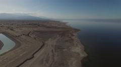 Salton Sea Coastline Landscape Aerial Stock Footage