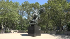 The East Coast Memorial eagle sculpture in Battery Park, Manhattan, New York. Stock Footage
