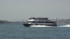 A NY Waterway ferry close to Manhattan, New York, United States. Stock Footage