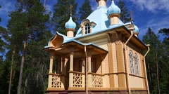 Restored wooden church on the island of Valaam Stock Footage