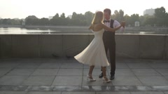 Newlywed couple performing an elegant dance Stock Footage