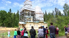 Tourists are an old monastery Island Valaam in Russia Stock Footage