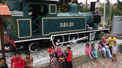 Old steam locomotive at the National Museum Of Malaysia. Stock Footage