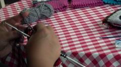 Women knit with wool socks Stock Footage