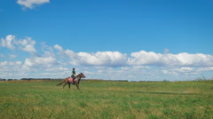 Beautiful girl riding a horse in countryside Stock Footage