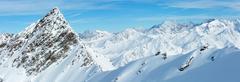 Dolomiten Alps winter view (Austria). Panorama. Stock Photos