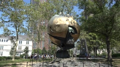 The World Trade Center Sphere Memorial, Battery Park, Manhattan, New York City. Stock Footage