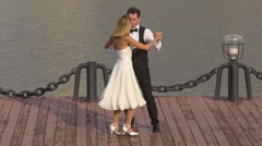 Wedding first dance of bride and groom on dock Stock Footage