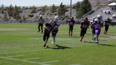 Quarterback keeps the ball with run to the right, hard tackle out of bounds,3619 Stock Footage