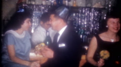 New Years Eve party in the basement with friends-3620 vintage film home movie Stock Footage