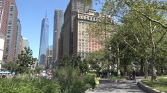 View from Battery Park, Manhattan, New York towards One World Trade Center. Stock Footage