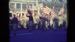1948: scout troop parades with american flags BALTIMORE, MARYLAND Stock Footage