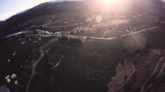 Aerial: Country and Valley Vista Overview in late afternoon Light, Long. Stock Footage