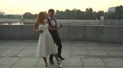 Romantic marriage. First dance Stock Footage