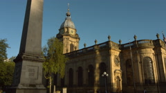 Birmingham Cathedral with obelisk tracking shot early morning. 4K Stock Footage