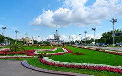 Landscaping of Exhibition Center and main pavilion, Moscow, Russia Stock Photos