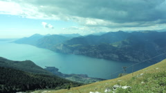 WIDE TIME LAPSE Daytime view of a lake Garda from a top of Monte, Italy Stock Footage