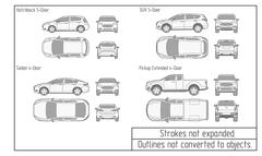 Car sedan and suv drawing outlines not converted to objects Stock Illustration