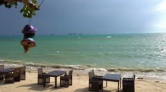 Dinner tables on the beach in stormy weather, Koh Samui, Thailand Stock Footage