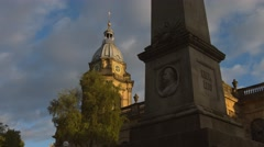 Birmingham Cathedral with obelisk early morning. 4K Stock Footage