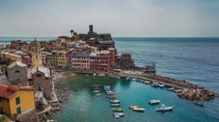 4K UHD TIME-LAPSE View from high hill of Vernazza houses and blue sea Stock Footage