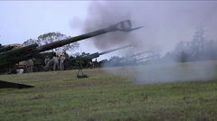 Artillery fire training. Stock Footage