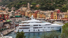 TIME-LAPSE of Portofino Italian fishing village and vacation resort Stock Footage