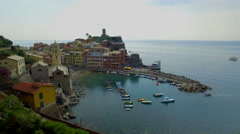 Vernazza houses and blue sea, Cinque Terre national park, Liguria, Italy Stock Footage
