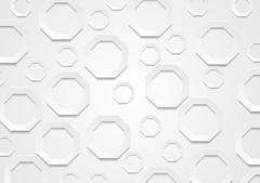 Abstract grey paper tech octagon shapes background Stock Illustration