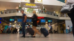 Travelers are  awaiting a flight in Vilnius airport, time-lapse Stock Footage
